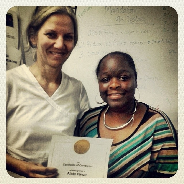 Receiving my CNA certification, May 2014